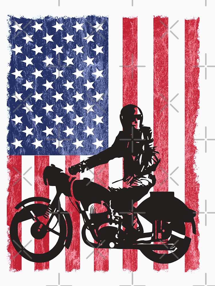 Motorcyclist Motorbiker USA Flag Design by kudostees