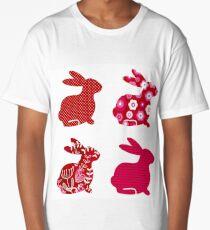 Cute  red vintage bunnies Long T-Shirt