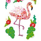 Cute Flamingo Gift Pink Pretty Graphic Design Circles Dots by DoubleBrush