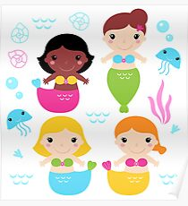 Mare kids icons on white Poster