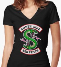 southside serpents riverdale Women's Fitted V-Neck T-Shirt