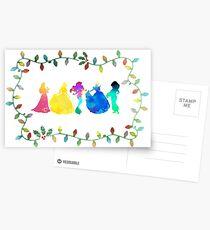 Christmas Princesses Inspired Silhouette Postcards