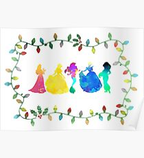 Christmas Princesses Inspired Silhouette Poster