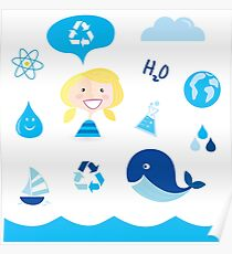 H20 ICONS BLUE ON WHITE Poster