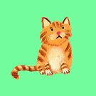 Ginger Cat on green by Tiphanie Beeke