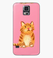 Ginger Cat on pink Case/Skin for Samsung Galaxy