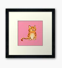 Ginger Cat on pink Framed Print