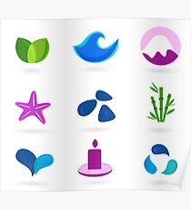 WELLNESS ICONS ON WHITE Poster