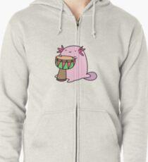 Axolotl Playing the Djembe Zipped Hoodie