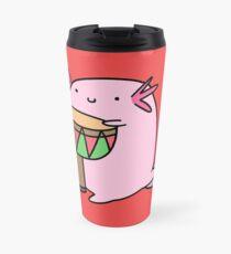 Axolotl Playing the Djembe Travel Mug