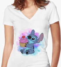 Stitch Cupcake Women's Fitted V-Neck T-Shirt