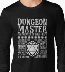 Dungeon Master, The Weaver of Lore & Fate - Dungeons & Dragons (White Text) Long Sleeve T-Shirt