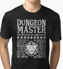 Dungeon Master, The Weaver of Lore & Fate - Dungeons & Dragons (White Text) Tri-blend T-Shirt
