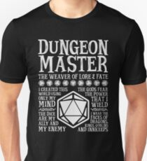 Dungeon Master, The Weaver of Lore & Fate - Dungeons & Dragons (White Text) Unisex T-Shirt