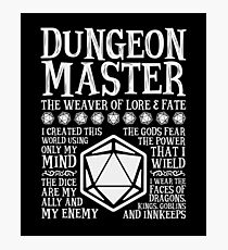 Dungeon Master, The Weaver of Lore & Fate - Dungeons & Dragons (White Text) Photographic Print