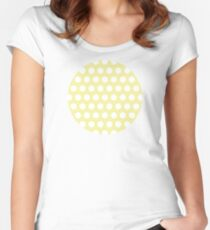 dots, pastel yellow and white Women's Fitted Scoop T-Shirt
