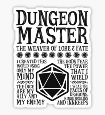 Dungeon Master, The Weaver of Lore & Fate - Dungeons & Dragons (Black Text) Sticker