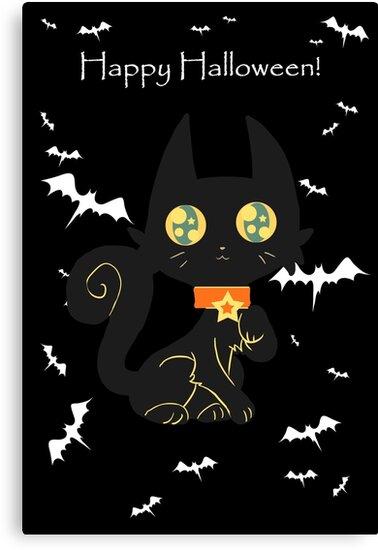 """Happy Halloween"" Star Collar Black Cat by SaradaBoru"