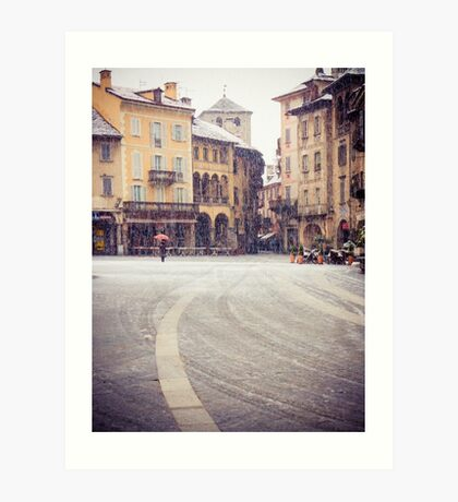 Italian medieval square on a snowy day Art Print