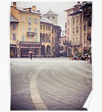 Italian medieval square on a snowy day Poster