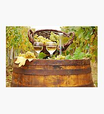 white wine on wooden barrel Photographic Print