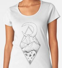 Geometric mountain in a diamonds with moon (tattoo style - black and white) Women's Premium T-Shirt