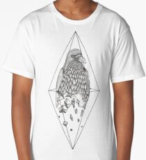 Geometric Crow in a diamond (tattoo style- Black and White version) Long T-Shirt