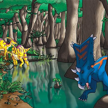 Dinosaur Swamp - Chasmosaurus and Parasaurolophus by GoldenArchelon