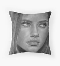 Adriana Lima 2 Pencil Drawing Throw Pillow