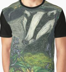Badger in Spring, with Bluebells and Primroses Graphic T-Shirt