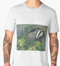 Badger in Spring, with Bluebells and Primroses Men's Premium T-Shirt