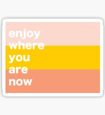 Enjoy Where You Are Now Sticker