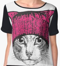 Pussyhat Protest Shirt - Women's March Pussycat Pink Hat Shirt Chiffon Top
