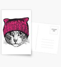 Pussyhat Protest Shirt - Women's March Pussycat Pink Hat Shirt Postcards
