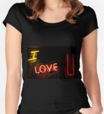 I love you neon light sign at night photograph romantic design Women's Fitted Scoop T-Shirt
