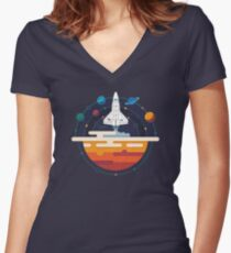Space Shuttle and Planets Women's Fitted V-Neck T-Shirt