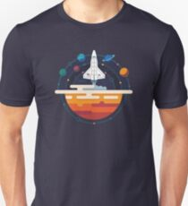 Space Shuttle and Planets Unisex T-Shirt