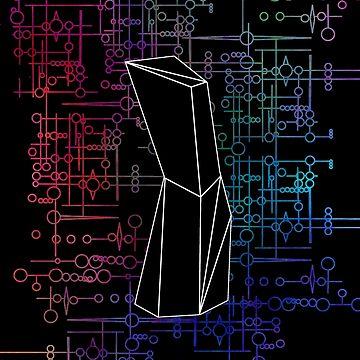 The Obelisk / The Diviner (Black and Multi-Coloured on Black) by believeluna