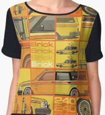 Yellow Volvo 245 Wagon With Roof Rack and Vintage Bicycle Women's Chiffon Top