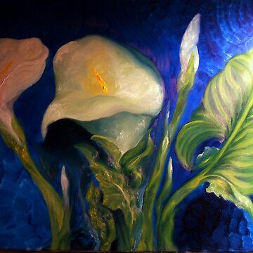 Calla Lilies Against Blue Wall, 2 by Hawkski