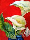 Calla Lilies Against Red Wall by Barbara Sparhawk