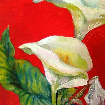 Calla Lilies Against Red Wall by Hawkski