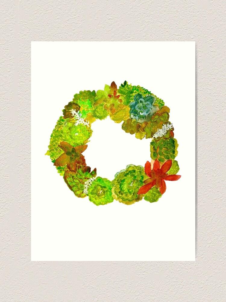 Alternate view of Succulent Wreath Art Print