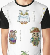 Costumed Halloween Owls (with names) Graphic T-Shirt