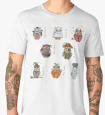Costumed Halloween Owls (with names) Men's Premium T-Shirt