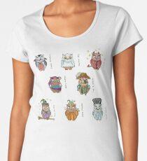 Costumed Halloween Owls (with names) Women's Premium T-Shirt