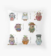 Costumed Halloween Owls (with names) Floor Pillow