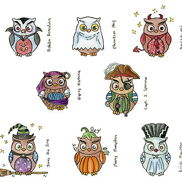 Costumed Halloween Owls (with names) by HajraMeeks