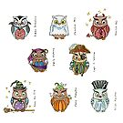 Costumed Halloween Owls (with names) by HAJRA MEEKS