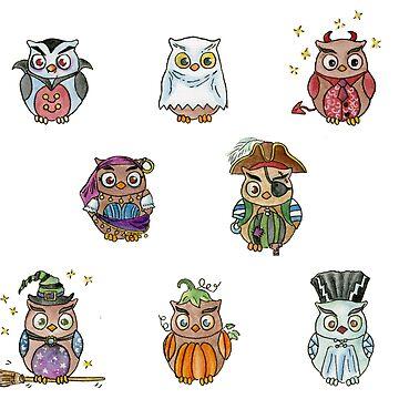 Costumed Halloween Owls  by HajraMeeks